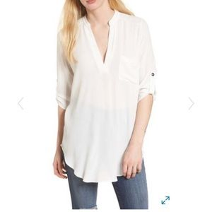 Lush Tops - Lush Perfect Roll Tab Sleeve Tunic Sz Med Ivory